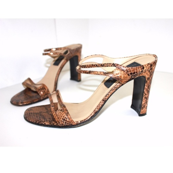 Classiques Entier Shoes - Vintage Leather Python Embossed High Heel Mules
